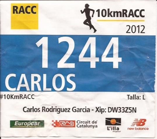 cursa racc 2012, dorsal